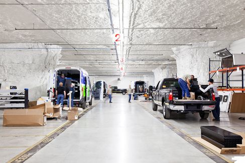 SubTropolis is down the road from an assembly plant at which Ford manufactures F150 pickups. This has attracted companies such as Knapheide, shown here, which manufactures steel bodies that get rigged onto Ford trucks.