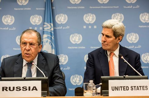 Sergei Lavrov, Russia's foreign minister and John Kerry, U.S. Secretary of State speak at a news conference after a United Nations Security Council meeting on Syria.