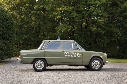 "The 1966 Alfa Romeo Giulia Super ""Polizia."" Similar models were used by the police in chase scenes in the film The Italian Job."