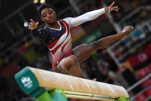 USA gymnast Simone Biles competes on the beam on Aug. 9.