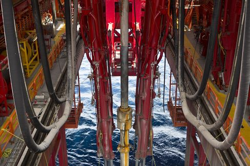 Pemex Drilling Pipes on Oil Platform