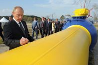 Russian Prime Minister Vladimir Putin commemorates the 2011 opening of a natural gas pipeline in Vladivostok, near the border with China and North Korea.