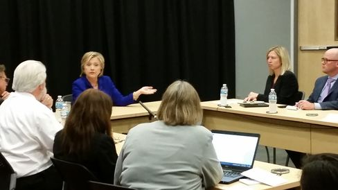 Hillary Clinton meets with Des Moines Register editorial board on Sept. 22, 2015.