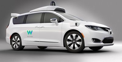 Chrysler Pacifica Hybrid minivan, equipped with Waymo.