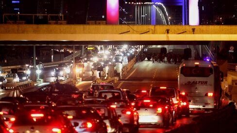 Turkish soldiers block Istanbul's Bosporus Bridge on July 15 in Istanbul.