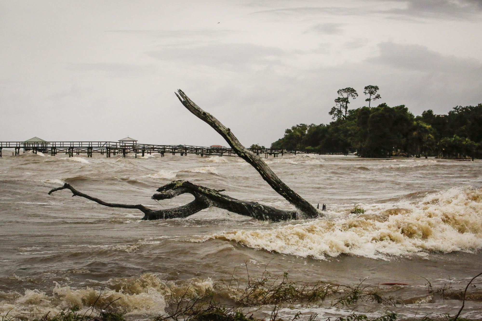 Storm surge near Lake Pontchartrain after Tropical Storm Barry hit in Louisiana in July.
