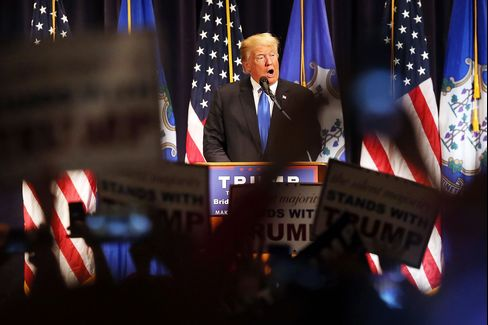Donald Trump at a rally in Bridgeport on April 23.