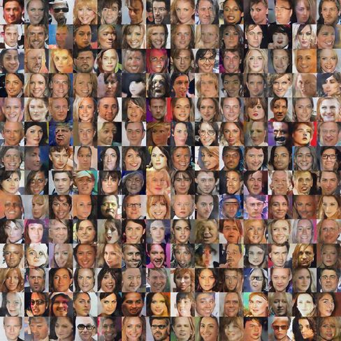 Synthetic faces generated via a neural network