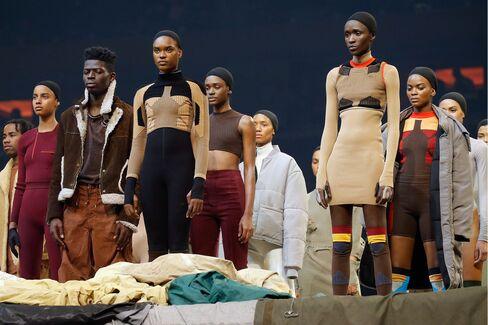 Models showcase clothing from Kanye West's Yeezy Season 3 on February 11, 2016 in New York City.