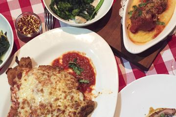 Chicken parm with meatballs and polenta and all-important chile flakes.