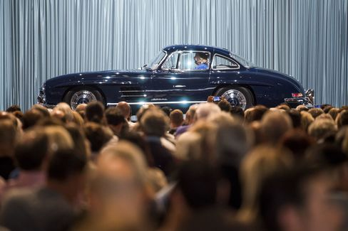 A 1955 Mercedes-Benz 300 SL Gullwing vehicle during the Gooding & Co. auction.