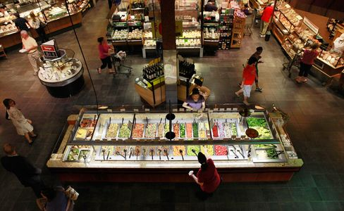 The salad bar for lunch at the Market Cafe in the Wegmans grocery store in Fairfax, Virginia.