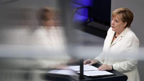 Merkel speaks in Berlin on June 28.
