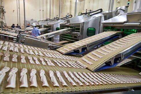 Processing bacon at Sugar Creek.
