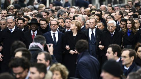 From left, Israeli Prime Minister Benjamin Netanyahu, Malian President Ibrahim Boubacar Keita, French President Francois Hollande, German Chancellor Angela Merkel, European Union President Donald Tusk, Palestinian President Mahmud Abbas, and Jordan's Queen Rania take part in a unity rally on Jan. 11, 2015, in Paris.