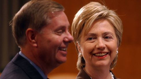 Senators Lindsay GrahamandHillary Clinton appear at a press conference announcing the formation of the manufacturing caucus on June 14, 2005.