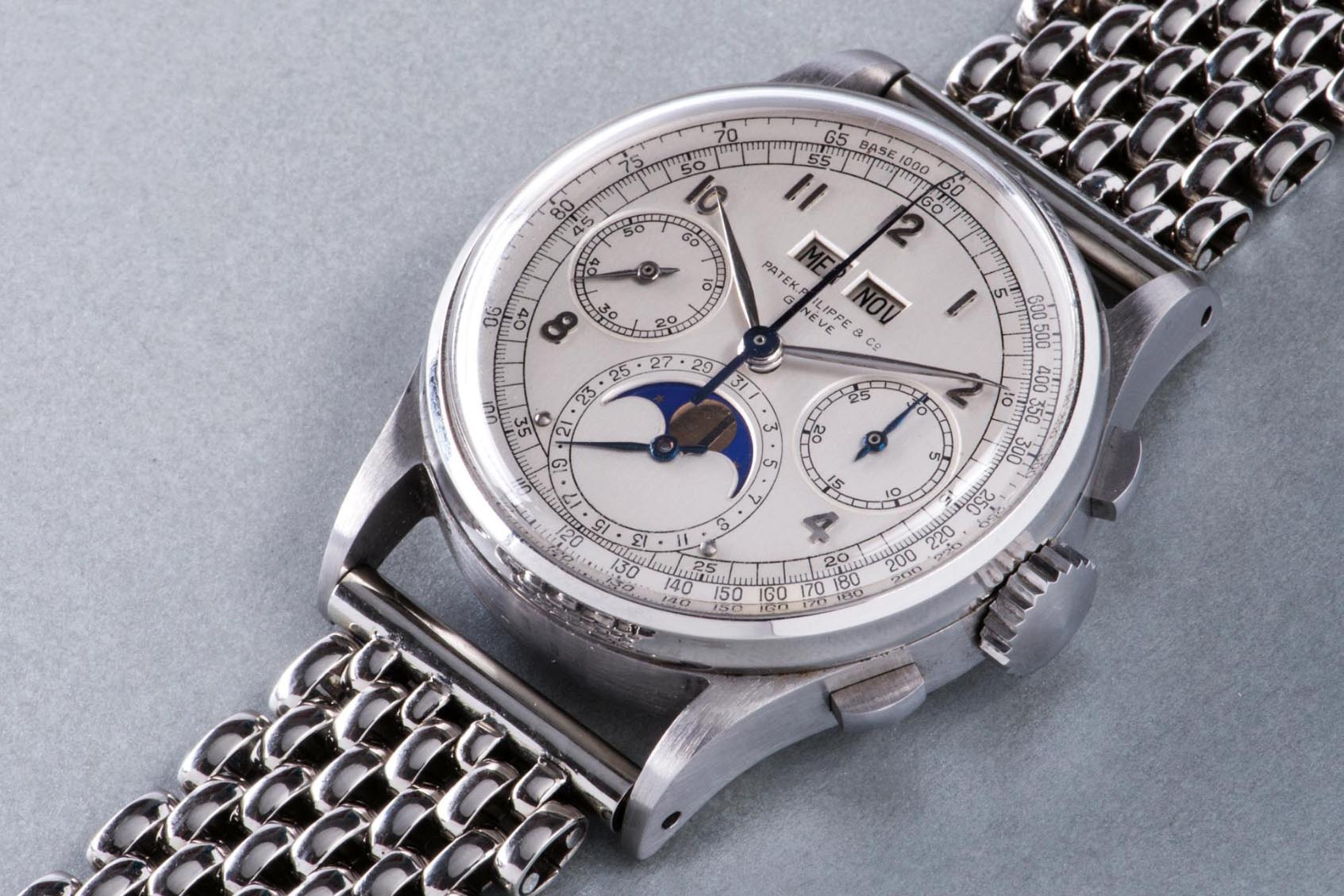 Patek Philippe Stainless Steel Perpetual Calendar Chronograph Wristwatch