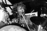 Cream drummer Ginger Baker performing live onstage.