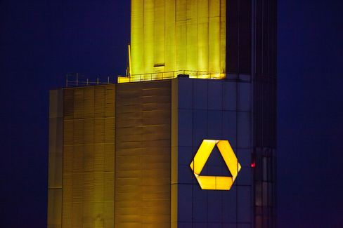A logo sits on the Commerzbank AG Headquarters in Frankfurt