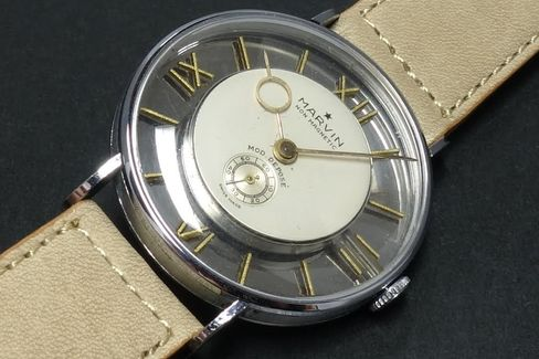 A closer look at the structure of this Marvin watch.