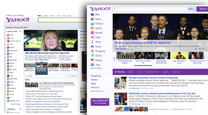 The old (left) and new Yahoo! home pages