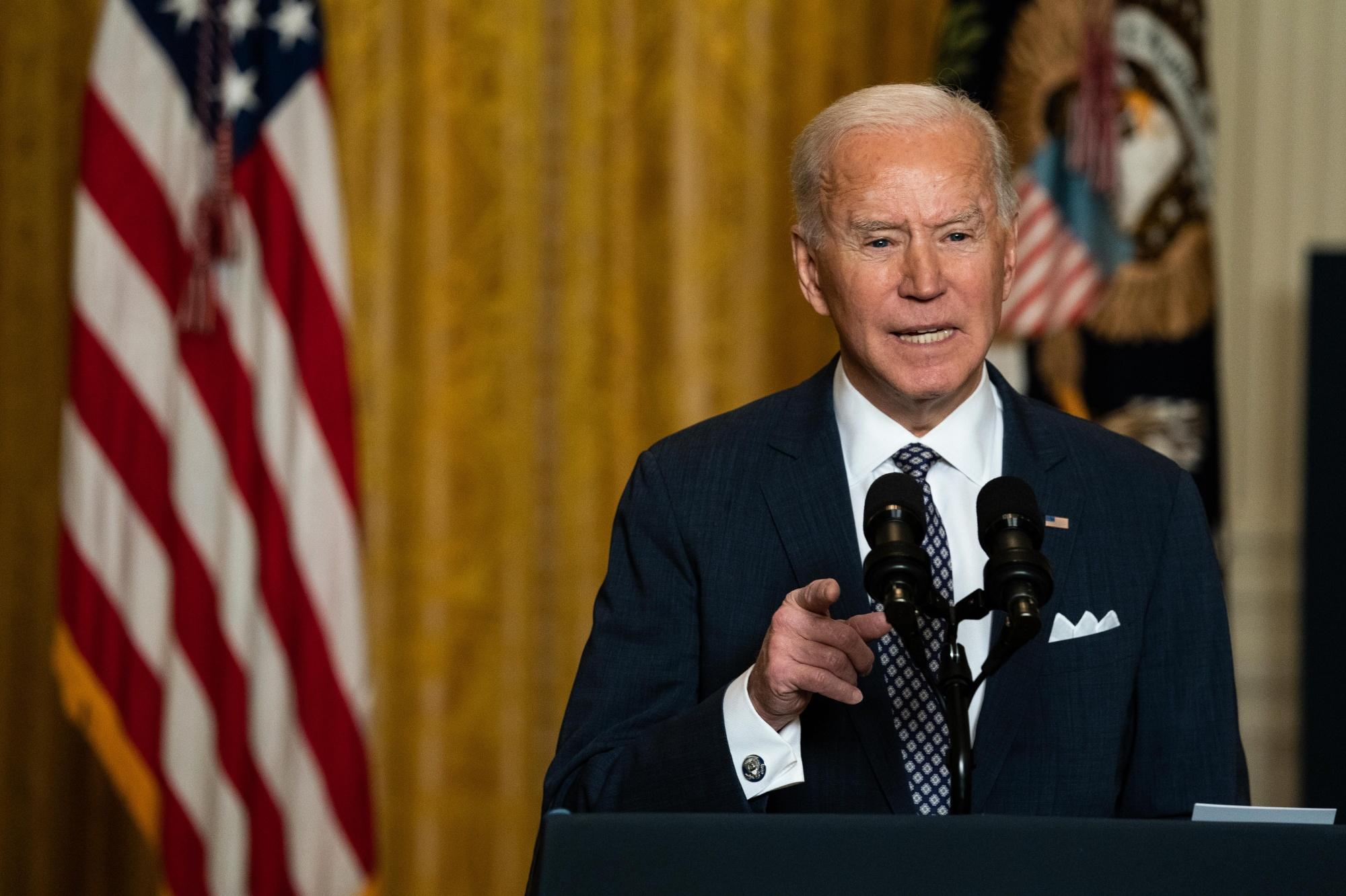 U.S. President Joe Biden speaksin the East Room of the White House on Feb. 19.