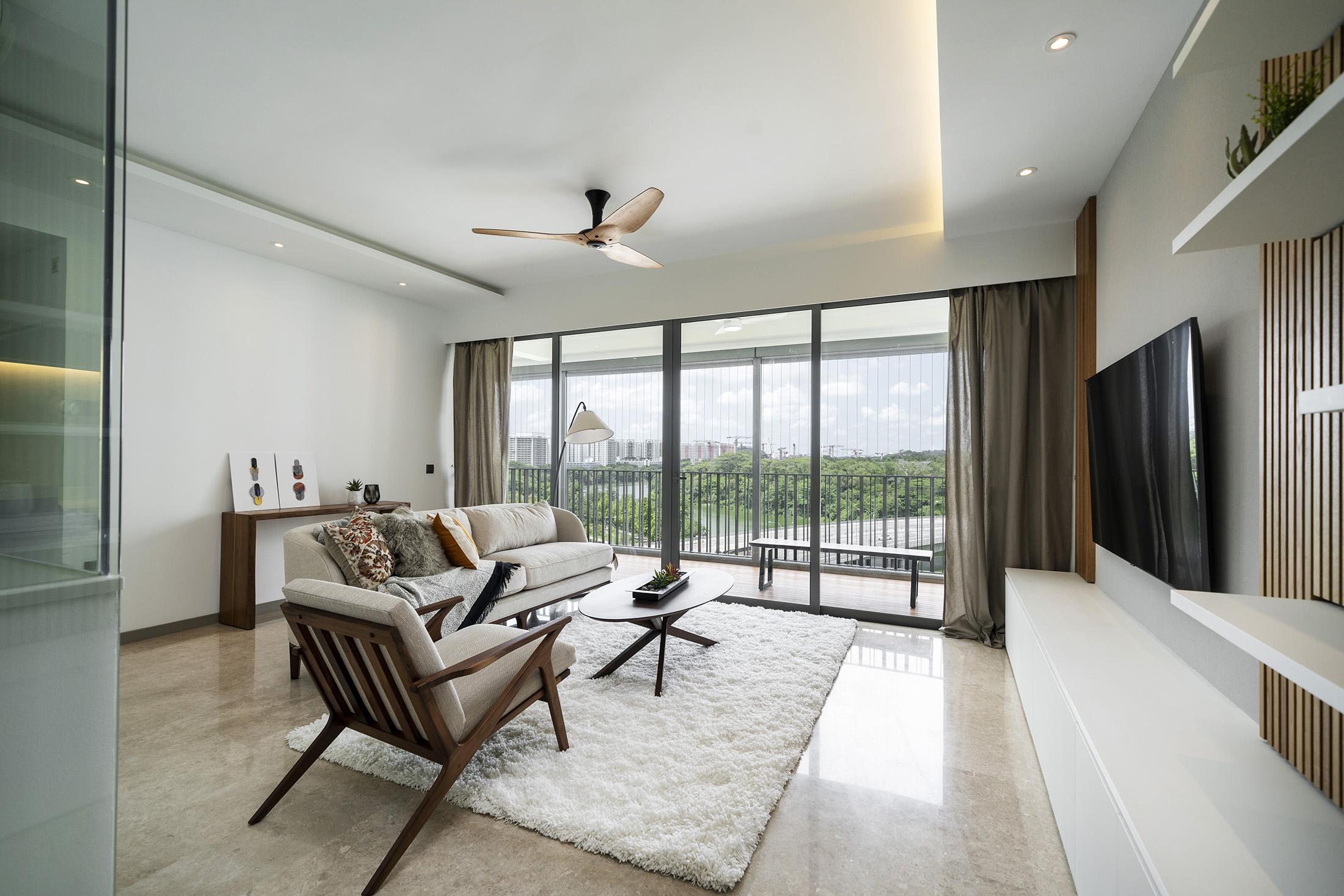 Living room of a renovated condominium in Singapore.