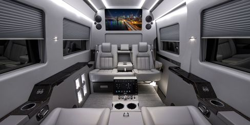 Celebrities and CEOs can optfor a re-fittedMercedes Benz Sprinter van, which can accommodate up to sevenpeople
