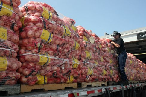 California-grown onions for unloading at Hunts Point Terminal Produce Co-Operative Market, in New York.