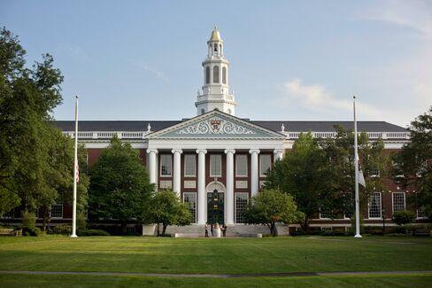 The Baker Library of the Harvard Business School, on Harvard University campus in Cambridge, Mass.