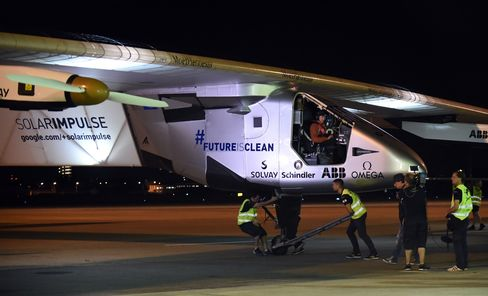 Andre Borschberg aboard the Solar Impulse