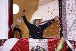 Peruvianpresidential candidate Pedro Castillotalks to supporters at his party's headquarters in Lima on June 8.