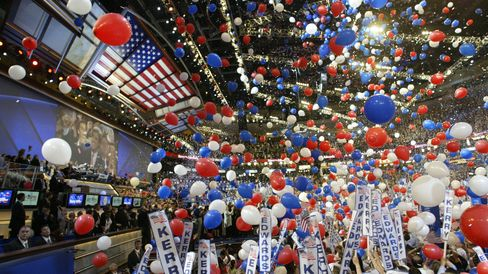 The balloon drop at the 2004 Democratic National Convention.