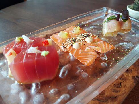 The assorted sashimi plate.