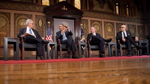 President Barack Obama speaks at the Catholic-Evangelical Leadership Summit on Overcoming Poverty at Georgetown University in Washington on May 12, 2015. From left are, E.J. Dionne, Jr., Washington Post columnist and professor in Georgetown's McCourt School of Public Policy; the president; Robert D. Putnam, Professor of Public Policy at the Harvard University John F. Kennedy School of Government; and Arthur Brooks, president of the American Enterprise Institute.