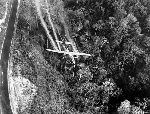 Agent Orange is sprayed over a forest in north Vietnam, during the Vietnam war.