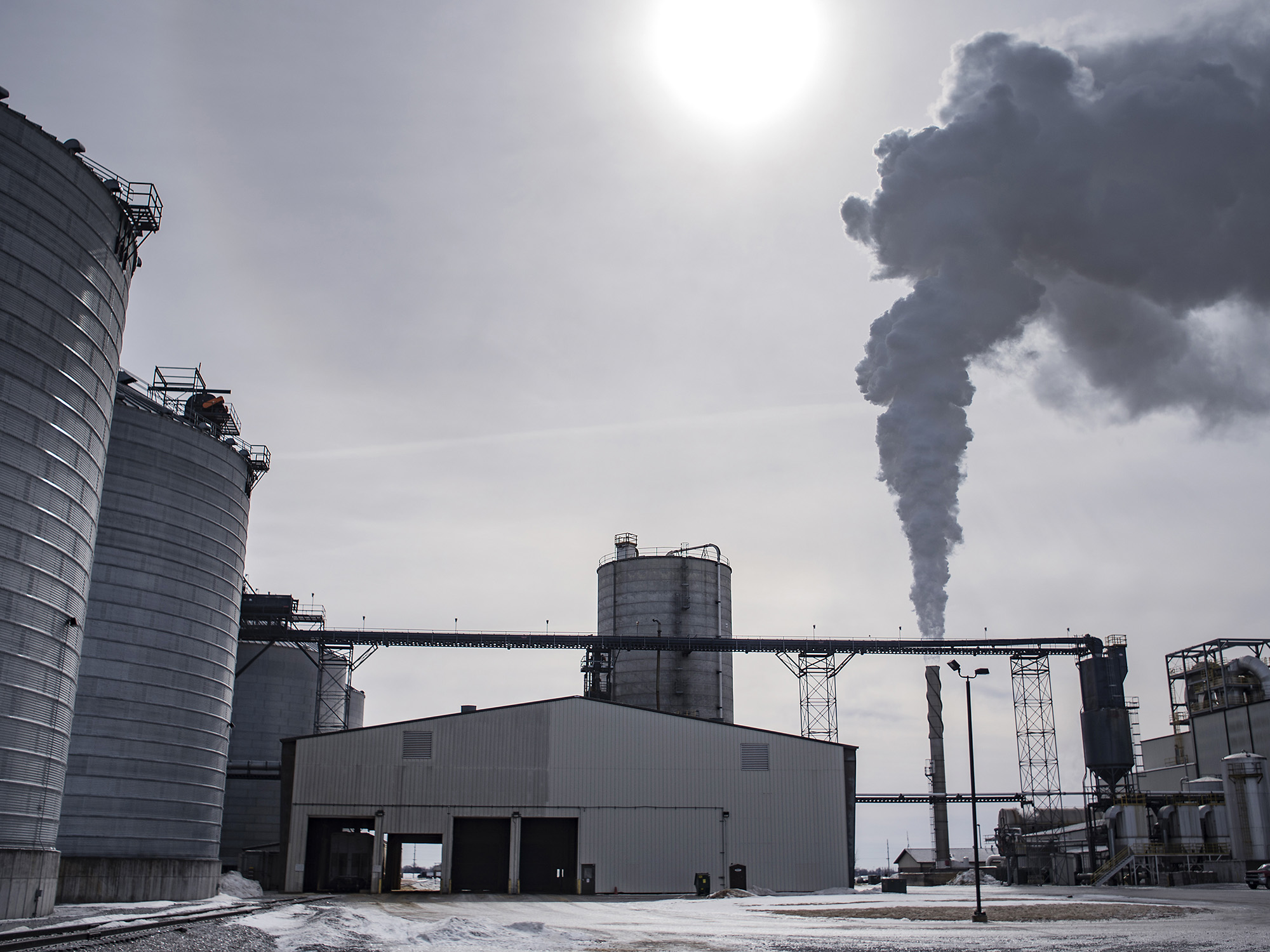 Steam billows out of a smokestack at a biorefining facility in Jewell, Iowa.