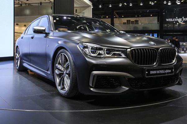 A BMW AG M760Li vehicle stands on display during the press day of the Seoul Motor Show in Goyang, South Korea, on Thursday, March 30, 2017. At the Seoul Motor Show this week, Hyundai Motor Co. will showcase a fuel-cell SUV prototype with a range of more than 800 kilometers (about 500 miles) on a single refuel. Photographer: SeongJoon Cho/Bloomberg