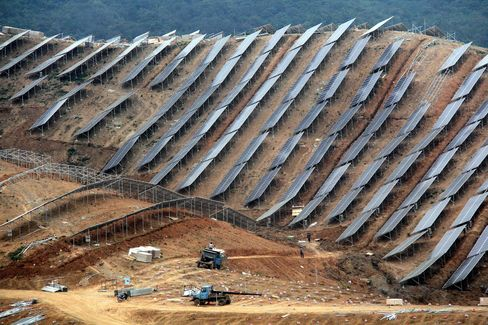 Solar power generation system in a hilly area of Wuhu in Anhui province.