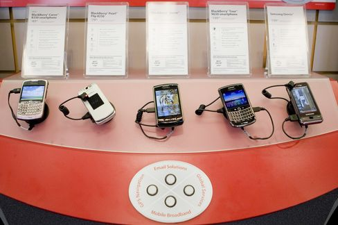 Blackberry Phones on Display at Verizon Wireless Store