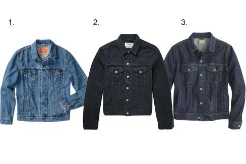 (1) Trucker Jacket in the shelf, Levi's, $89.50, levis.com; (2)Slim-fit overdyed denim jacket, Acne Studios, $360, acnestudios.com; (3) Denim jacket in walden wash, J.crew, $118, jcrew.com