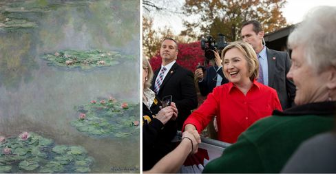 Left: Claude Monet, Nymphéas, circa 1908. Right: The Clinton campaign's reported cash on hand for fall 2015 is $33 million.