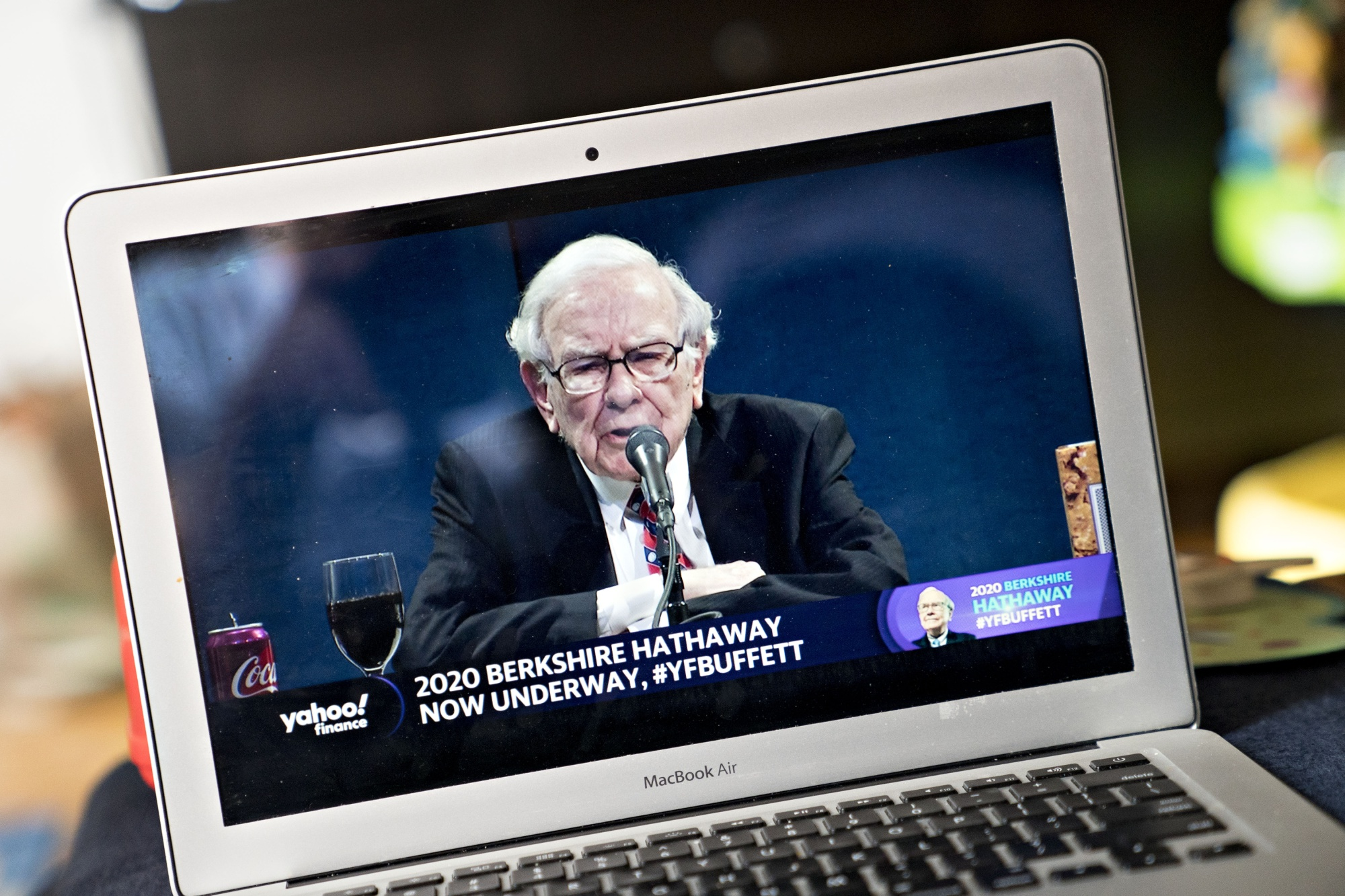 Warren Buffett speaks during the virtual Berkshire Hathaway annual shareholders meeting on May 2, 2020.