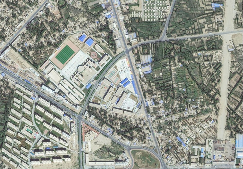 Satellite imagery of a re-education internment camp in Hotan, Xinjiang, China.