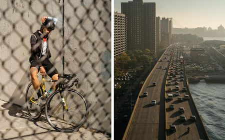 From left: Cyclist AC Lemi stares through a fence while posing for a portrait. (Shot at 1/1000th, f/8, and 400iso.) Traffic backup on the FDR. (Shot at 1/1500th, f/8, and 400iso.)