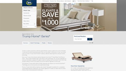 "The Serta website, advertising the Trump Home® iSeries, is seen on July 2, 2015. ""Trump is a name synonymous with the upscale lifestyle, superior quality and success of Donald Trump and his world-renowned empire,"" the page says."