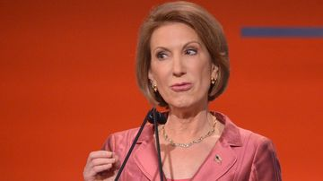 Republican presidential hopeful Carly Fiorina speaks during the Republican presidential primary debate on August 6, 2015 at the Quicken Loans Arena in Cleveland, Ohio.