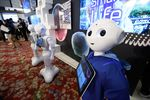 SoftBank Group Corp. Pepper humanoid robota stand during the SoftBank World 2019 event in Tokyo.