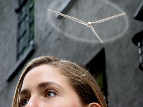 Parasol attaches to your clothes and when it starts to rain, it hovers above your head, protecting you from rain drops.