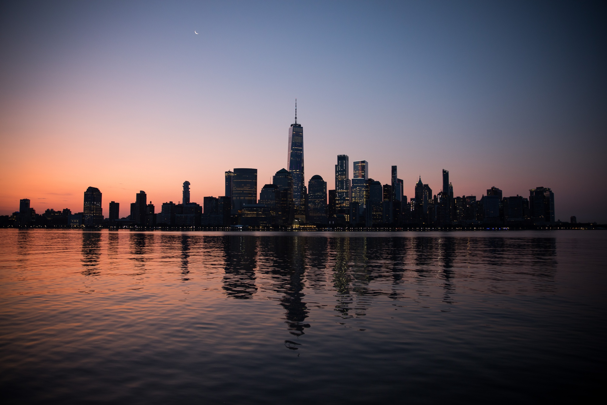 The lower Manhattan skyline is seen from Jersey City, New Jersey.